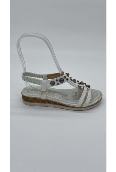 De Scarıo Düz 029 Taslı Beyaz Sandalet