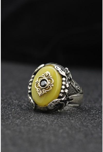 Kadim Kehribar Taşlı 925 Ayar Gümüş Erkek Yüzüğü