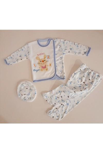 Beyzi Bebe Tavşan Desenli Mavi Renk 3 Parça Zıbın Takımı