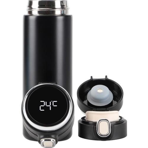 Daphnela LED Sıcaklık Göstergeli Sızdırmaz Akıllı Vakumlu Mug Siyah Termos 420ML