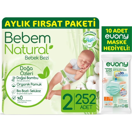 Bebem Natural Bebek Bezi 2 Beden Mini Aylık Fırsat Paketi 252 Adet + Evony Maske 10'lu Hediyeli