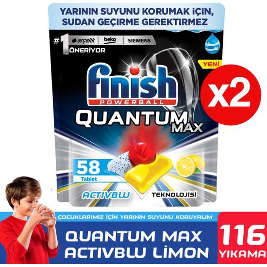 Finish Quantum Max Bulaşık Makinesi Deterjanı 116 Kapsül 58 x 2 Limonlu