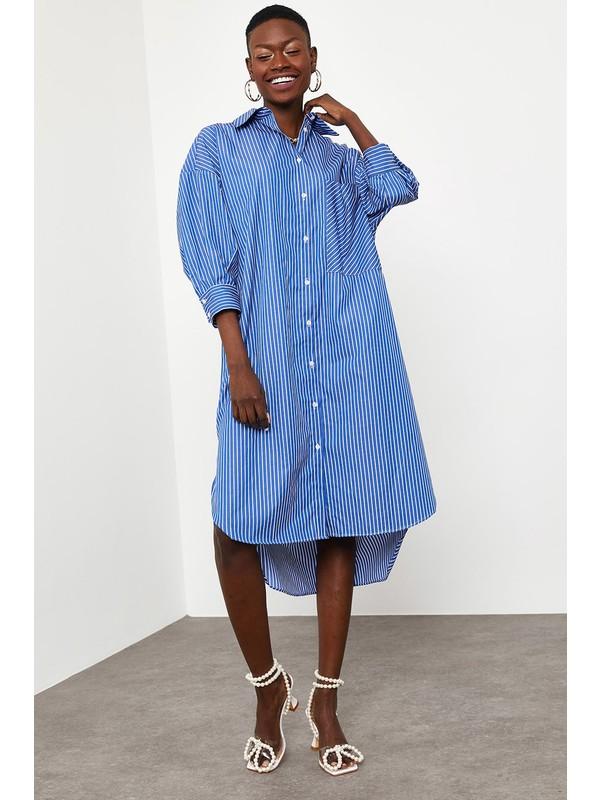 Xhan Lacivert Çizgili Oversize Gömlek Elbise 1KXK2-44823-14