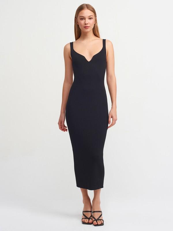 Dilvin 1032 Askılı Elbise-Siyah