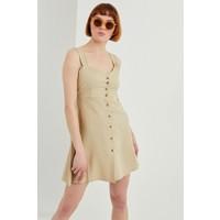 Z Giyim Kadın Bej Önü Düğmeli Askılı Keten Elbise