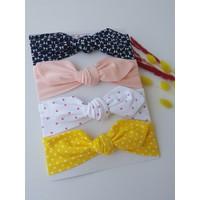 Swan Butik Kız Çocuk Bebek Bandana Toka Seti 4'lülacivert Desenli, Pembe Benekli, Sarı Benekli, Pudra Pembe
