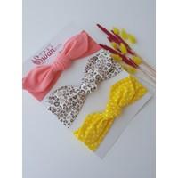 Swan Butik Kız Çocuk Bebek Bandana Toka Seti 3'lü Leopar, Sarı Benekli Şeftali
