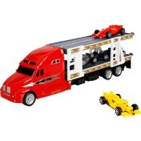 1:48 Maxx Wheels Transporter Tır 30 cm - Kırmızı