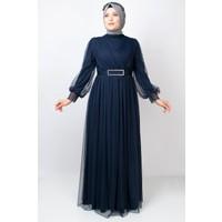 Fahima Kemer Detaylı Tül Abiye Elbise Lacivert FHM777