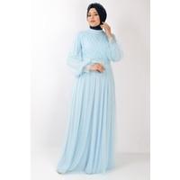 Fahima Kemer Detaylı Tül Abiye Elbise Bebe Mavisi FHM777