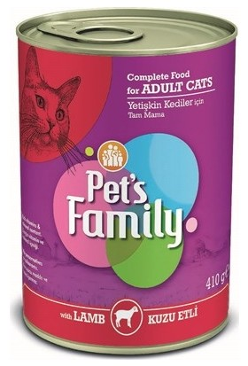 Pets Family Kuzu Etli Konserve Kedi Maması 24X410 gr