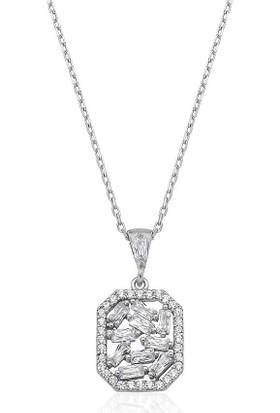 Gümüş Pazarım Emerald Kesim Baget Taşlı Gümüş Kolye