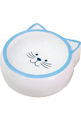 Pet Loves Melamin Mama Kabı Kedi Suratı Şeklinde Mavi 210 ml