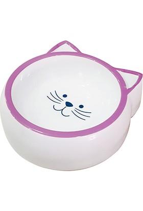 Pet Loves Melamin Mama Kabı Kedi Suratı Şeklinde Mor 210 ml