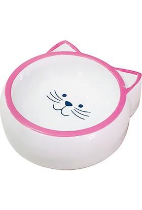 Pet Loves Melamin Mama Kabı Kedi Suratı Şeklinde Pembe 210ML