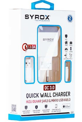 Syrox Hızlı Şarj ile 1 Adım Önde Olun.syrox Q30 Microusb Girişli 3.0 Amper Hızlı Şarj Aleti (Beyaz)