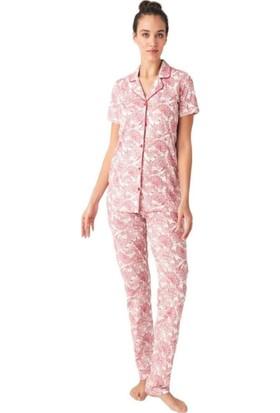 Mod Collection Boydan Düğmeli Gömlek Bayan Pijama Takım