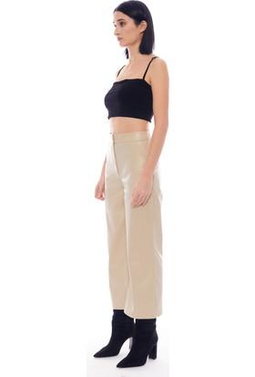 Manche Bej Kadın Deri Pantolon