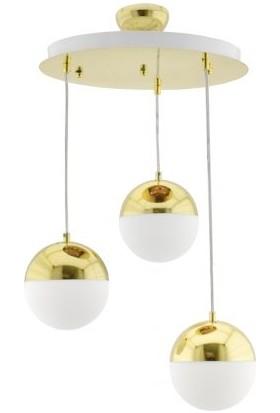Modi Lighting 3'lü Küre Yuvarlak Gold Sarkıt Avize