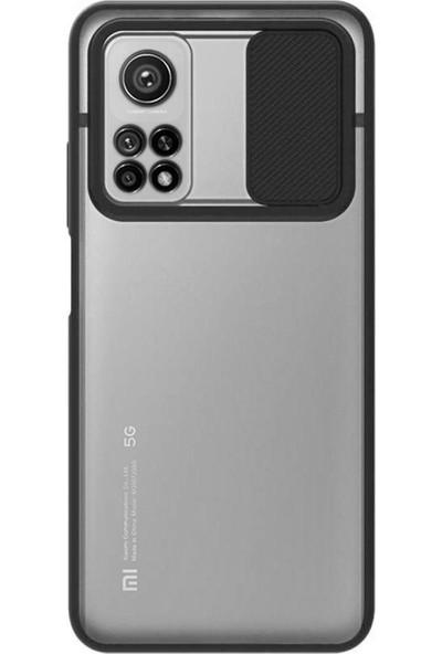 Case World Xiaomi Mi 10T 5g Kapak Lensi Açılır Kapanır Kamera Korumalı Silikon Kılıf - Siyah