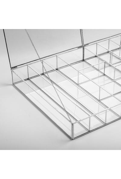 El Crea Designs Gümüş Silver 18 Bölmeli 2 Kapaklı Cam Takı Aksesuar Mücevherat Kutusu