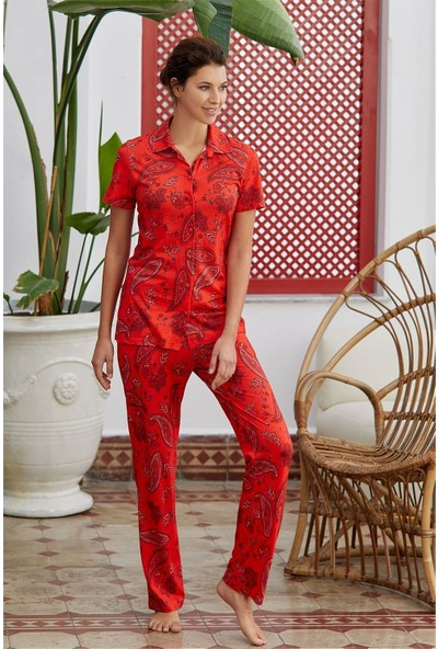 Eros Kadın Kırmızı Modal Şal Desen Kısa Kollu Kadın Pijama Takımı 28612