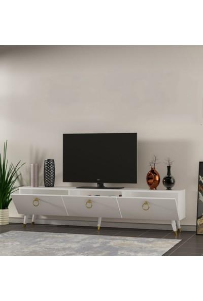 Özbek Sehpa Penta Beyaz Tv SEHPASI(150CM)