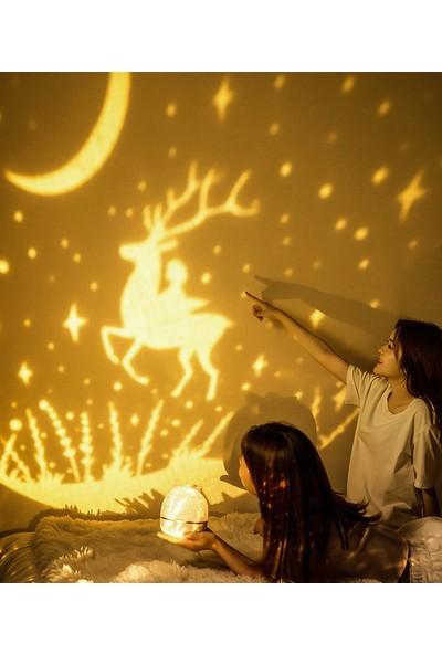 Şifa-I Nur Sihirli Gezegen Gece Lambası Projeksiyon Güneş Sistemi Yıldızlı Gökyüzü Dönen Projektör
