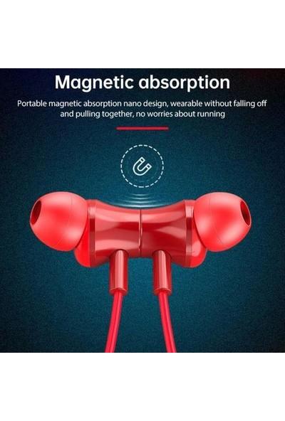 Lenovo QE08 Manyetik Neckband Kablosuz Bluetooth 5.0 Kulaklık Kırmızı