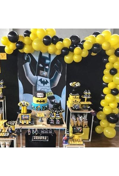 Partylandtr Sarı Siyah Batman Konseptine Uygun 75 Balon+Balon Zinciri ve Balon Yapıştırma Bandı