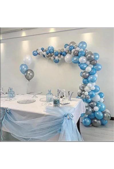 Partylandtr Frozen 75 Adet Metalik Mavi,gümüş,beyaz Balon ve 5 Metre Balon Zinciri, Balon Yapıştırma Bantı