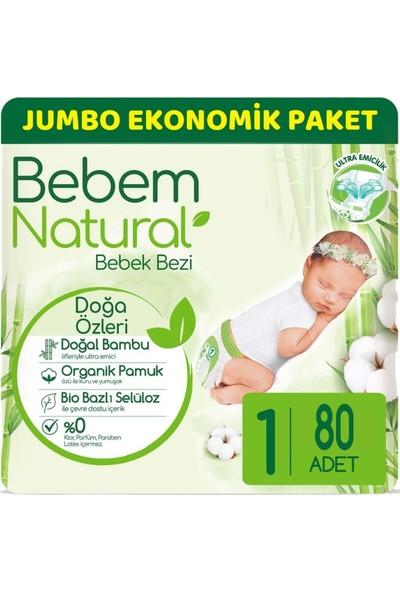 Bebem Bebek Bezi Natural Jumbo Ekonomik Pk Beden:1 (2-5kg) Yenidoğan 80 Adet