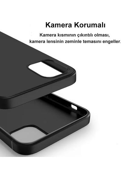 """Apple iPhone 12 (6.1"""") Kılıf Ultra Ince Mat Siyah Slim Silikon"""