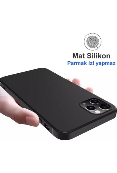 "Apple iPhone 12 Pro Max (6.7"") Kılıf Ultra Ince Mat Siyah Slim Silikon"
