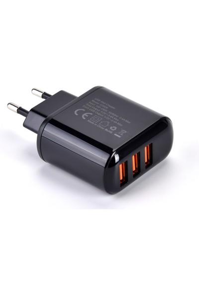 Choetech Dijital Göstergeli 3 USB Girişli 3.4A Hızlı Şarj Cihazı Eu Fiş Ucu Q5009