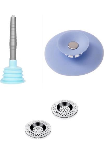 Vizyon Lavabo Süzgeci+Lavabo Tıkacı+Küçük Körüklü Pompa 3'lü Pratik Lavabo Mutfak Set