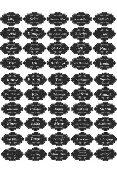 Hep En Uygun 137 Adet Kuruyemiş - Baharat - Bakliyat Kavanoz Etiketi - Siyah Sticker