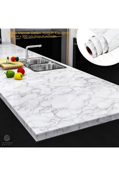 Technosmart Mutfak Tezgah Üstü Folyo Kaplama Mermer Desenli Beyaz Banyo Dolap Kaplama 60 x 500 cm