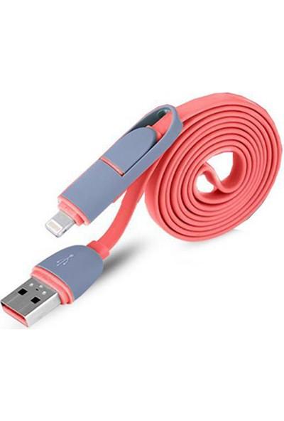 Wozlo Şarj Kablo - 2 In 1 Çoklu USB Data Kablo 1 mt