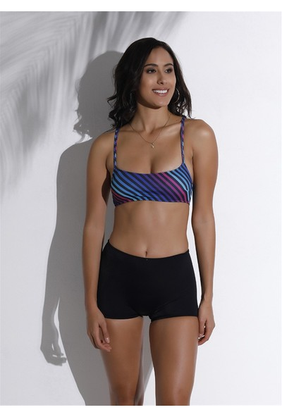Aquavia Aquaviva Kadın Siyah Karışık Çizgili Çapraz Askılı Şortlu Bikini Takımı