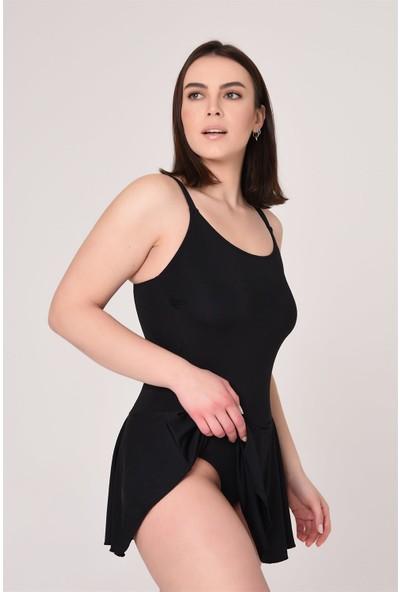 Aquavia Aquaviva Kadın Siyah Ayar Askılı Volanlı Elbise Mayo