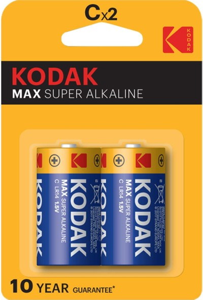 Kodak Max Alkalin Orta Pil-C 2'li