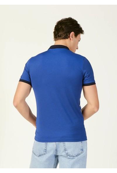 Adze Erkek Indigo Yaprak Desenli Polo Yaka T-Shirt