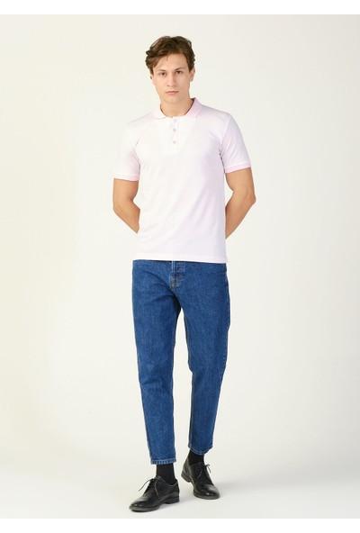 Adze Erkek Pudra Çizgili Polo Yaka T-Shirt