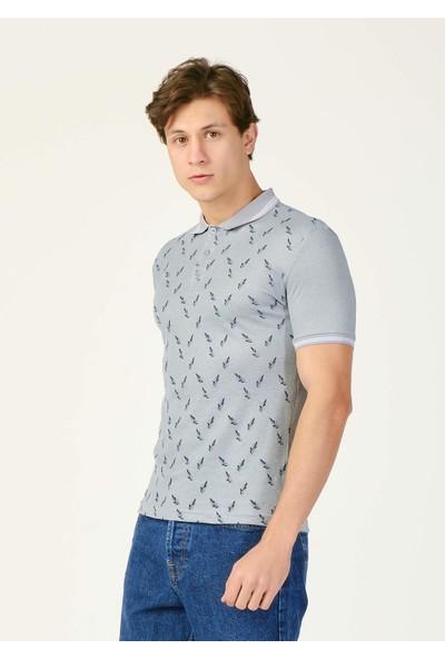 Adze Erkek Haki Yaprak Desenli Polo Yaka T-Shirt