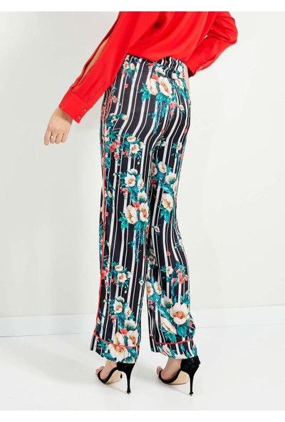 Adze Kadın Siyah Çiçek Baskılı Bol Paça Pantolon