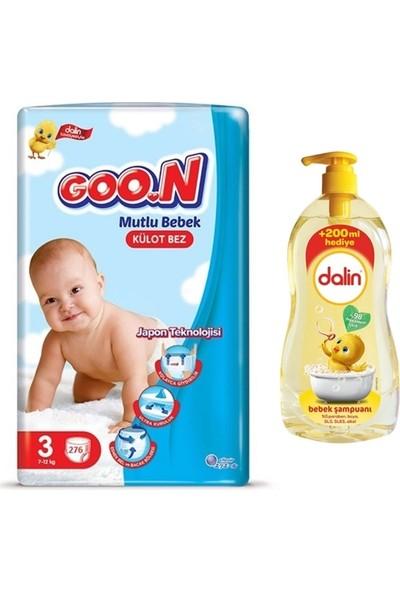 Goon Mutlu Bebek 3 Numara Külot Bez 276 Adet + Dalin Bebek Şampuanı 900 ml