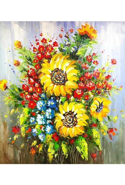 Hobi Sepeti 35X50 Sayılarla Boyama Seti Fırça Hediyeli %100 Pamuk Tuval Şeklinde Çerçeveli TG18 Renkli Çiçek