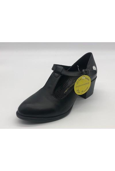 Mammamia D20YA-3525 Bayan Deri Bilekten T Bağcıklı Ökçeli Ayakkabı