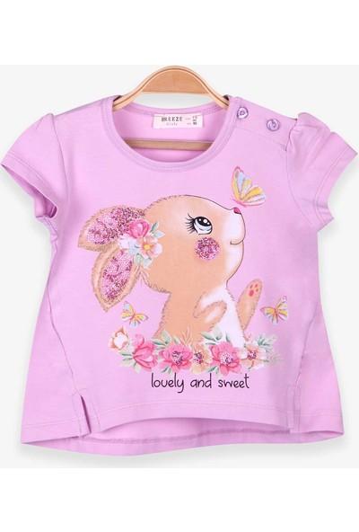 Breeze Kız Çocuk Tişört Tavşan Baskılı Eflatun (1.5-5 Yaş)